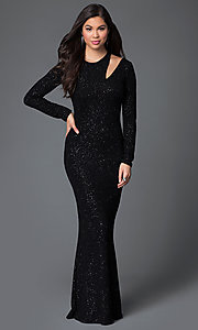 Image of glittery black floor length long sleeve neckline detail dress Style: MD-D14211WWo Front Image