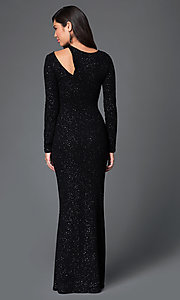 Image of glittery black floor length long sleeve neckline detail dress Style: MD-D14211WWo Back Image