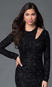 Image of glittery black floor length long sleeve neckline detail dress Style: MD-D14211WWo Detail Image 1