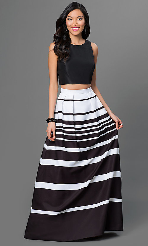 Image of sleeveless two-piece dress with black scoop-neck top and black and white striped floor length skirt. Style: X-XS8290 Front Image