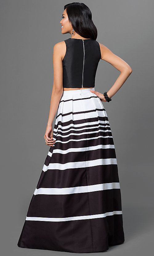 Image of sleeveless two-piece dress with black scoop-neck top and black and white striped floor length skirt. Style: X-XS8290 Back Image