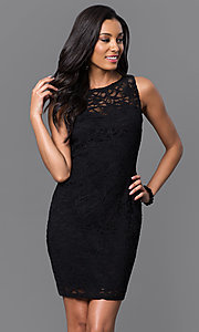 Short Lace Open-Back Party Dress with Bow by Jump