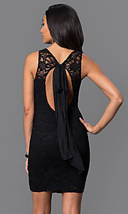 Image of short lace open-back dress with bow by Jump. Style: JU-48135 Back Image