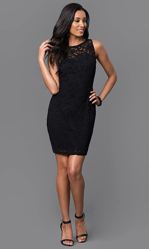 Image of short lace open-back dress with bow by Jump. Style: JU-48135 Detail Image 1