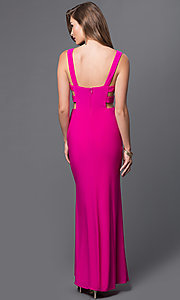 Image of floor length side cut-out side slit v-neck fuchsia dress  Style: IT-3444 Back Image
