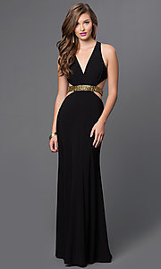 Image of long black V-neck open back gold midriff detail side cut out dress Style: IT-3454 Front Image