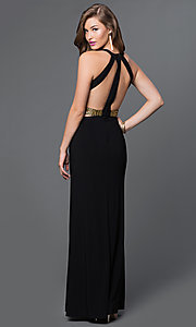 Image of long black V-neck open back gold midriff detail side cut out dress Style: IT-3454 Back Image