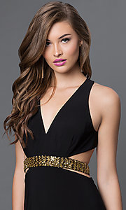 Image of long black V-neck open back gold midriff detail side cut out dress Style: IT-3454 Detail Image 1