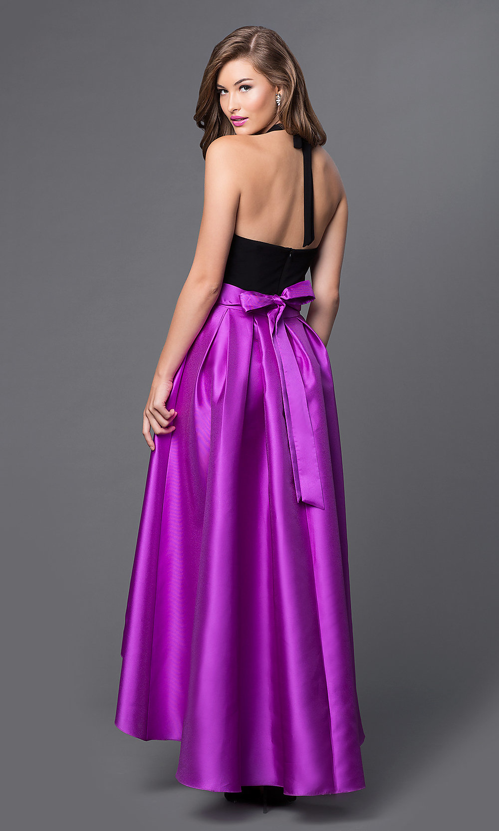 Two Tone High Low Halter Prom Dress - PromGirl
