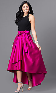Image of two tone high neck high low dress Style: IT-3482 Front Image