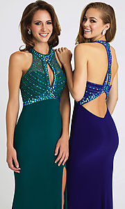 Image of long keyhole open-back prom dress by Madison James. Style: NM-16-392 Detail Image 1
