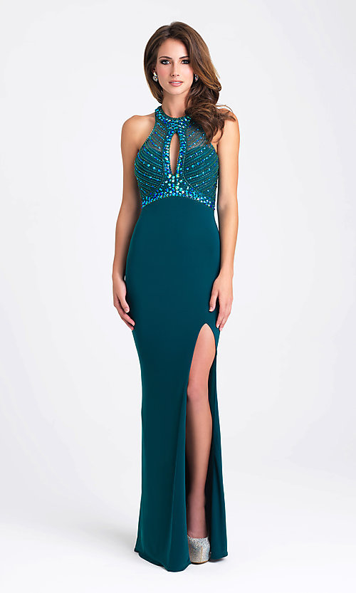 Image of long keyhole open-back prom dress by Madison James. Style: NM-16-392 Front Image