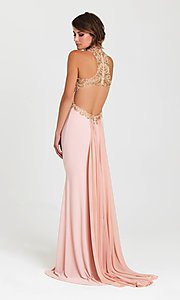 Image of long cut-out open-back prom dress by Madison James. Style: NM-16-396 Back Image