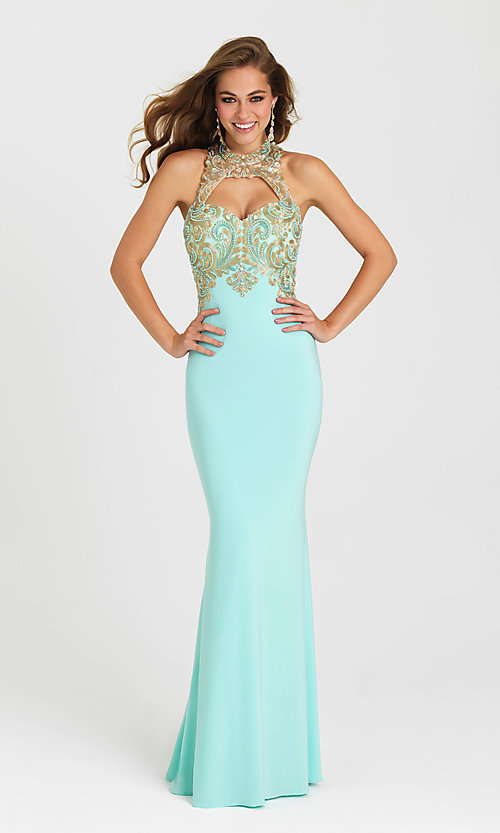 Image of long cut-out open-back prom dress by Madison James. Style: NM-16-396 Front Image