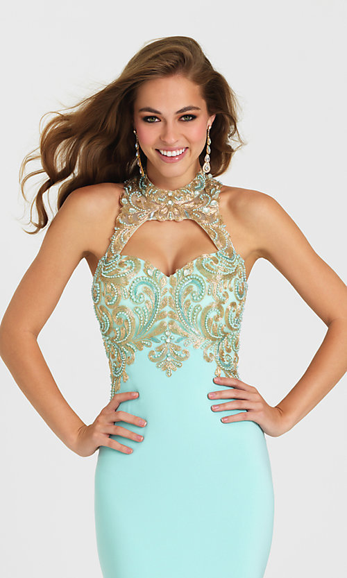 Image of long cut-out open-back prom dress by Madison James. Style: NM-16-396 Detail Image 1