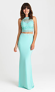Image of embroidered-top two-piece long formal prom dress. Style: NM-16-412 Front Image