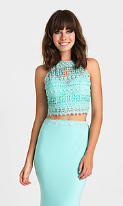 Image of embroidered-top two-piece long formal prom dress. Style: NM-16-412 Detail Image 1