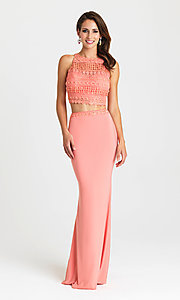 Image of embroidered-top two-piece long formal prom dress. Style: NM-16-412 Detail Image 3