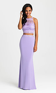 Image of embroidered-top two-piece long formal prom dress. Style: NM-16-412 Detail Image 2