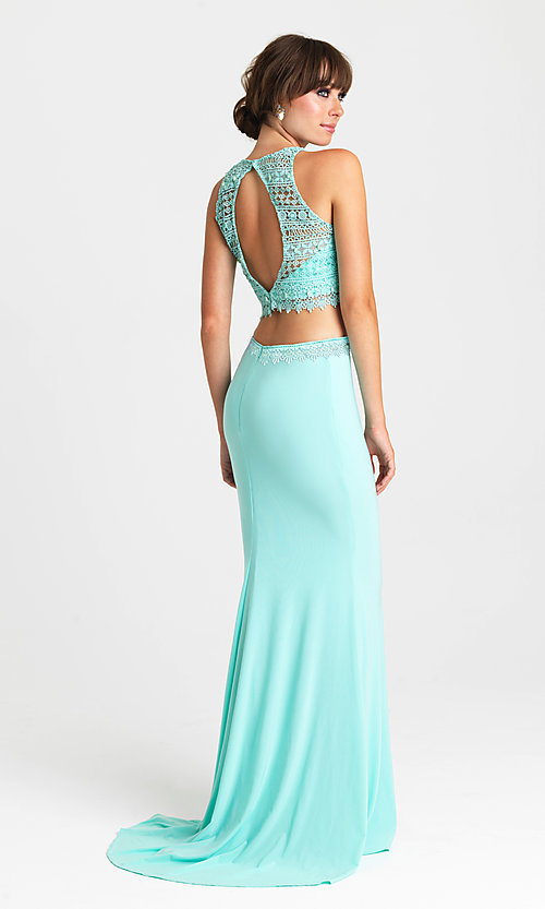 Image of embroidered-top two-piece long formal prom dress. Style: NM-16-412 Back Image