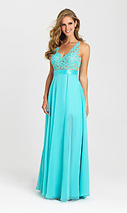 Image of long open-back v-neck Madison James prom dress. Style: NM-16-413 Detail Image 1