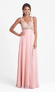 Long Open Back V-Neck Madison James Prom Dress