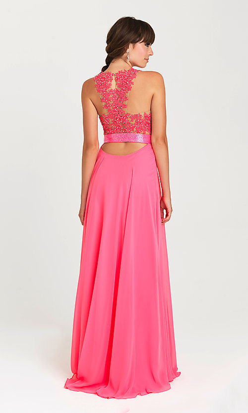 Image of long open-back v-neck Madison James prom dress. Style: NM-16-413 Front Image