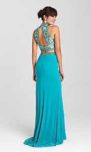 Image of long open-back two-piece Madison James prom dress. Style: NM-16-435 Back Image