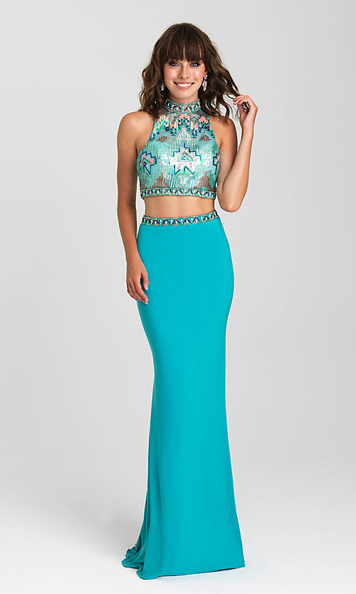 Image of long open-back two-piece Madison James prom dress. Style: NM-16-435 Detail Image 2