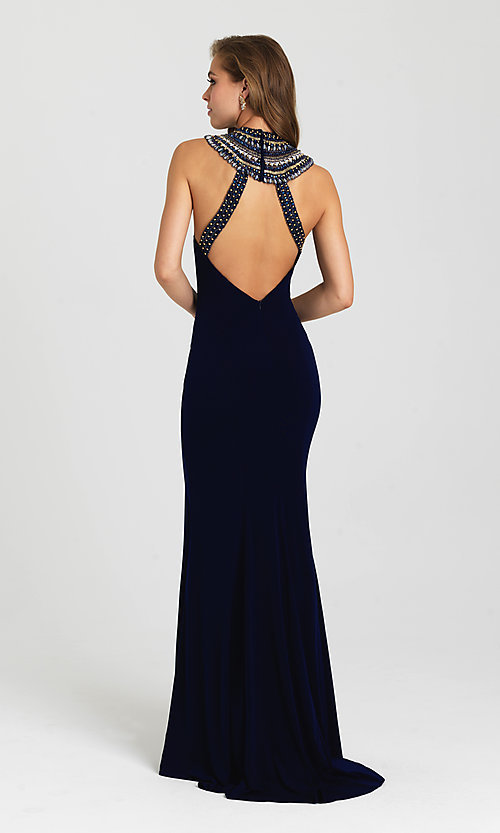 Image of high-neck beaded-collar open-back prom dress. Style: NM-16-436 Back Image