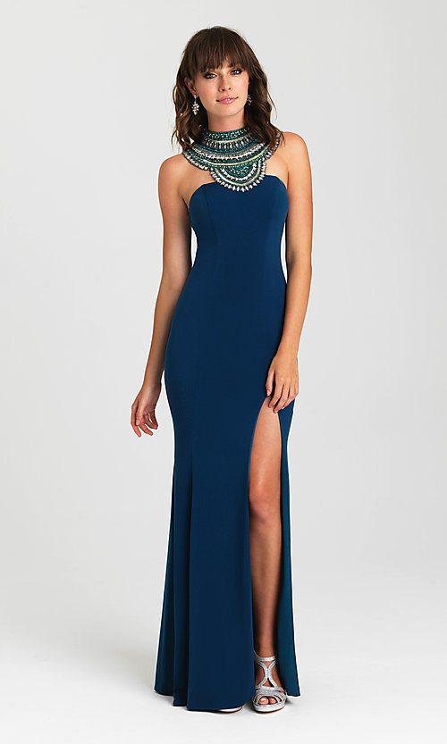 Image of high-neck beaded-collar open-back prom dress. Style: NM-16-436 Front Image