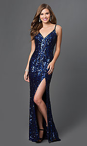 Sequin V-Neck Long Prom Dress with Back Cut Outs