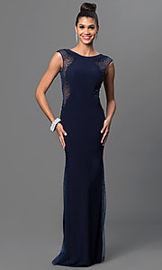 Open Back Navy Blue Floor Length Dress
