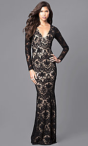Long-Sleeve Black Lace Prom Dress with Cut-Out Back