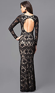 Image of long-sleeve black lace prom dress with cut-out back. Style: MCR-1671 Back Image