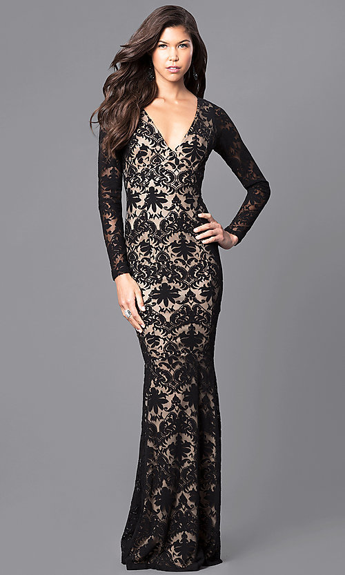 Image of long-sleeve black lace prom dress with cut-out back. Style: MCR-1671 Front Image