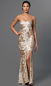 Image of long strapless embroidered-sequin embellished dress. Style: JU-MA-262726 Front Image