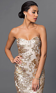 Image of long strapless embroidered-sequin embellished dress. Style: JU-MA-262726 Detail Image 1