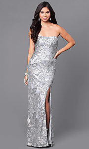 Image of long strapless embroidered-sequin embellished dress. Style: JU-MA-262726 Detail Image 2