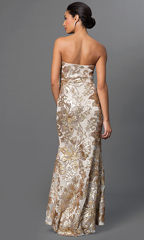 Image of long strapless embroidered-sequin embellished dress. Style: JU-MA-262726 Back Image