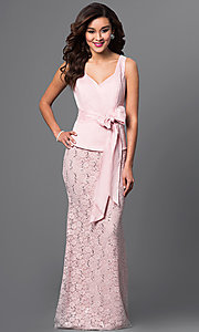 Pretty V-Neck Taffeta and Lace Dress