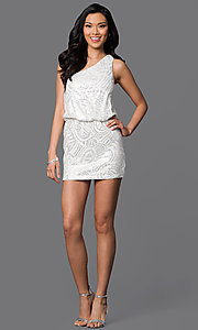 Image of short white one-shoulder silver sequin dress Style: AS-I52602154 Detail Image 1