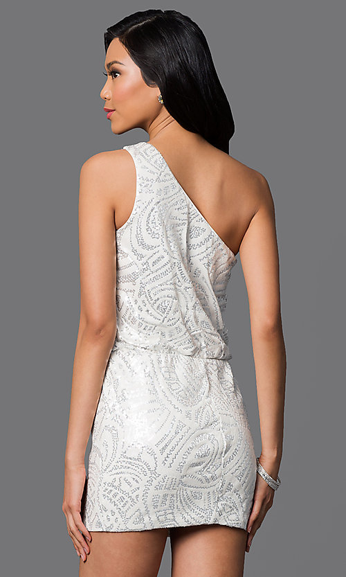 Image of short white one-shoulder silver sequin dress Style: AS-I52602154 Back Image