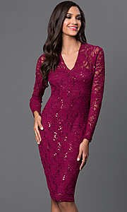 Knee Length Lace Long Sleeve Marina Dress with Sequin Detailing