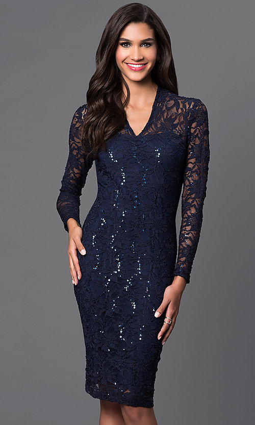 Image of knee length navy v-neck long sleeve lace sequin detail dress Style: JU-MA-261800R Detail Image 1