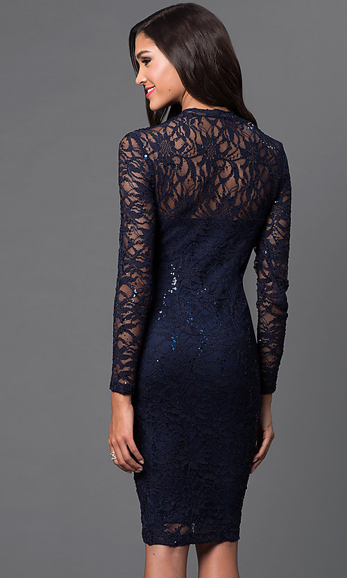 Image of knee length navy v-neck long sleeve lace sequin detail dress Style: JU-MA-261800R Back Image