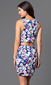 Image of short two-piece floral-print dress with asymmetrical skirt and sleeveless scoop-neck top Style: AS-I159540J8 Back Image