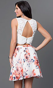 Image of short two-piece dress with print skirt Style: AS-I505892C8 Back Image