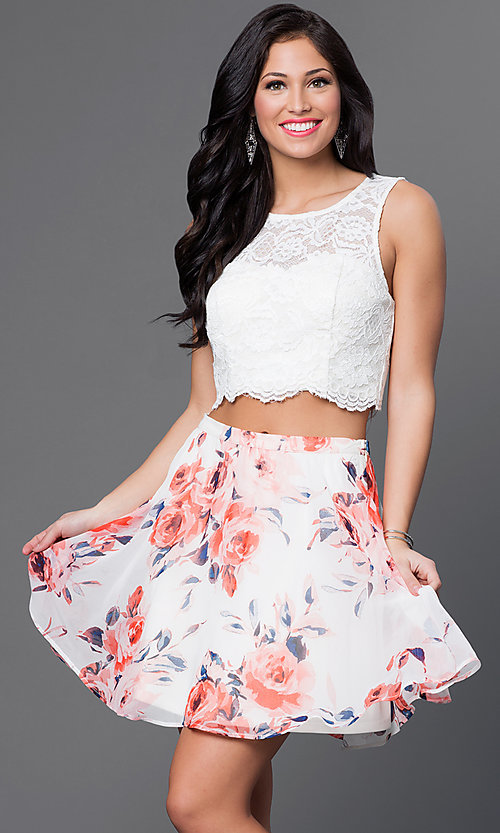 Image of short two-piece dress with print skirt Style: AS-I505892C8 Front Image