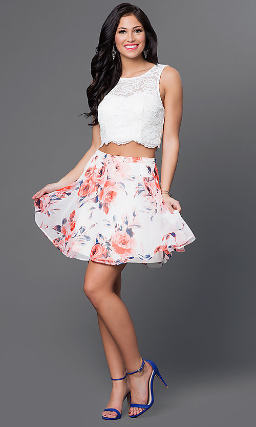 Image of short two-piece dress with print skirt Style: AS-I505892C8 Detail Image 1
